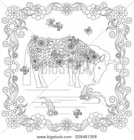 Anti stress abstract horse, butterflies, square flowering frame hand drawn monochrome vector illustration