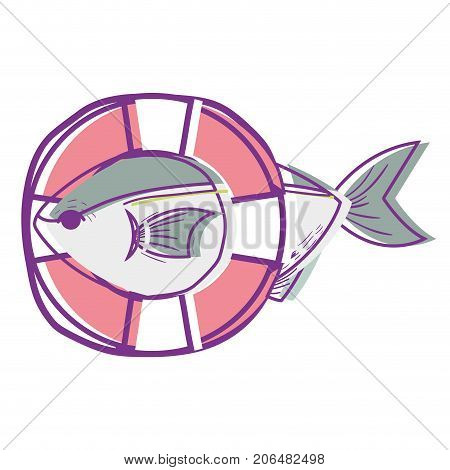 fish with life buoy object design vector illustration