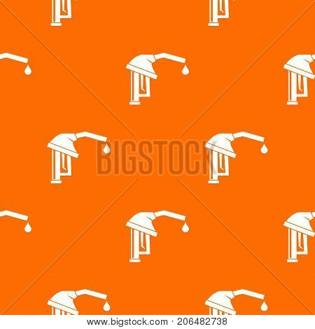 Gasoline pump nozzle pattern repeat seamless in orange color for any design. Vector geometric illustration
