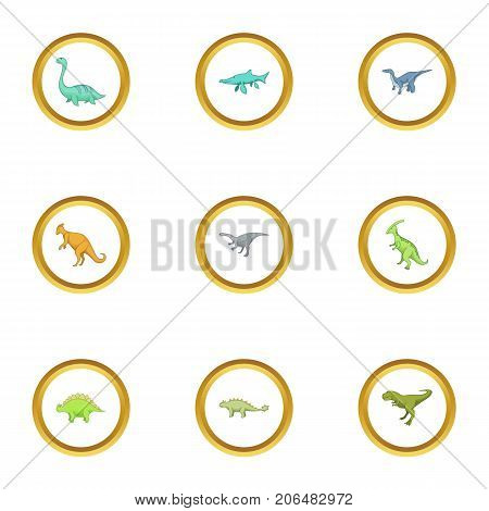 First dinosaur icons set. Cartoon style set of 9 first dinosaur vector icons for web design