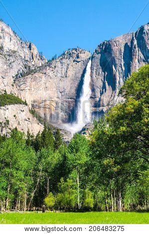 Upper Yosemite Fall, the highest waterfall in Yosemite National Park, California, USA.