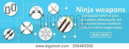 Ninja weapons banner horizontal concept. Flat illustration of ninja weapons banner horizontal vector concept for web design
