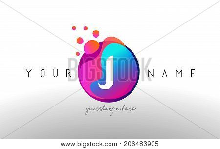 J Dots Letter Logo With Bubbles. A Letter Design Vector With Vibtant Colored Particles.