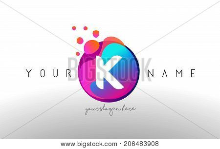 K Dots Letter Logo With Bubbles. A Letter Design Vector With Vibtant Colored Particles.