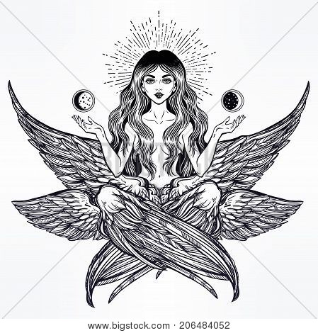 Hand drawn romantic six winged Angel girl. Alchemy, religion, spirituality, occult magic, tattoo. Isolated vector illustration. Biblical Seraphim deity, Slavonic folk Sirin Alkonost bird of paradise.