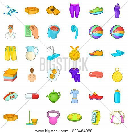 First place icons set. Cartoon style of 36 first place vector icons for web isolated on white background
