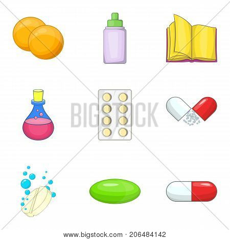 Chemistry icons set. Cartoon set of 9 chemistry vector icons for web isolated on white background
