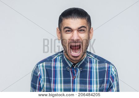 Mans Roar! The Angry Businessman, Screaming With Closed Eyes.