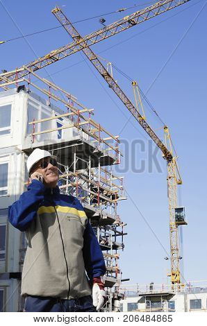 construction worker, engineer inside building site