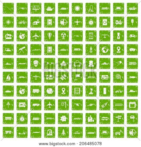 100 technology icons set in grunge style green color isolated on white background vector illustration