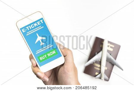 Hand holding E ticket application for Air travel on Phone screen