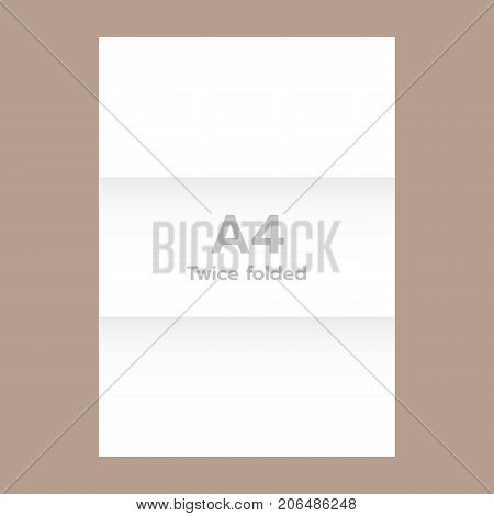 Horizontal twice folded a4 paper mockup. Realistic illustration of horizontal twice folded a4 paper vector mockup for web design
