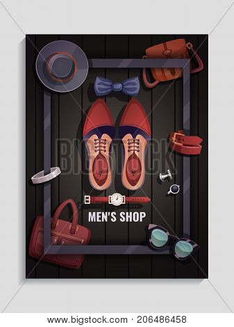 Colored men accessories poster men s shop headline and shoes watch tie glass bag vector illustration