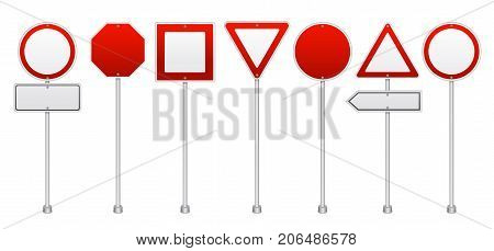 Realistic blank road traffic regulatory and warning signs set including stop and prohibitory red isolated vector illustration
