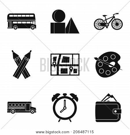 Bus icons set. Simple set of 9 bus vector icons for web isolated on white background