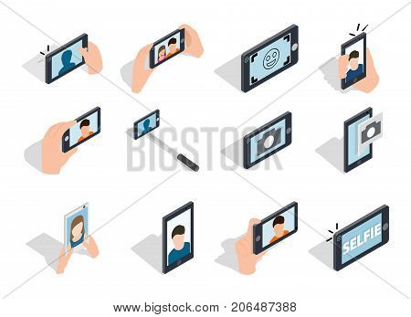 Selfie icon set. Isometric set of selfie vector icons for web isolated on white background