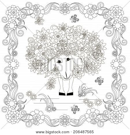 Anti stress abstract sheep, butterflies, square flowering frame hand drawn monochrome vector illustration
