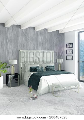 White Bedroom Or Livingroom Minimal Style Interior Design With Stylish Wall And Sofa. 3D Rendering.