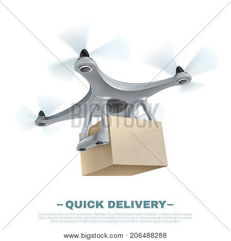 Realistic quick delivery drone quadcopter shipping box on white background vector illustration