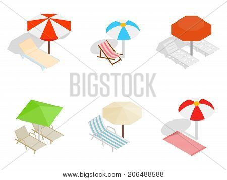 Deck chair icon set. Isometric set of deck chair vector icons for web isolated on white background