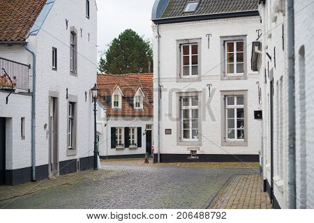 historic city of Thorn in the netherlands known for its white houses