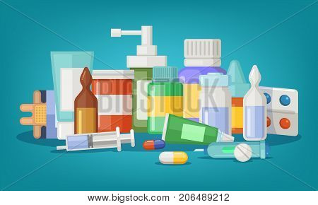 Pharmaceutical vector illustration of medical bottles and pills. Medical cure and cartoon medicament and vitamin