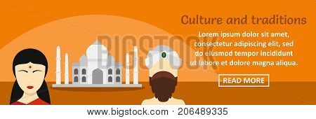 India culture and traditions banner horizontal concept. Flat illustration of india culture and traditions banner horizontal vector concept for web design