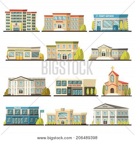 Colored isolated municipal buildings icon set with post office polyclinic college bank library hospital buildings descriptions vector illustration