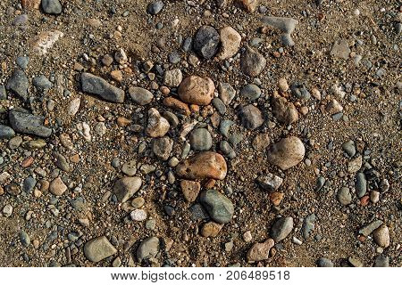 Stones on the ground. Abstract nature background. Stony ground. Soil background. Stones