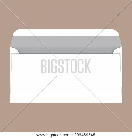 Open dl envelope mockup. Realistic illustration of open dl envelope vector mockup for web design