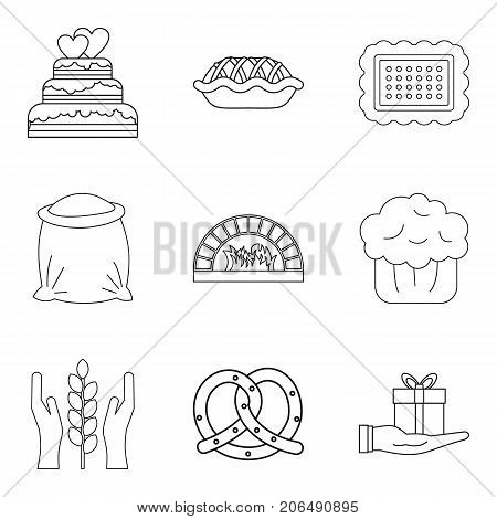 Biscuit icons set. Outline set of 9 biscuit vector icons for web isolated on white background