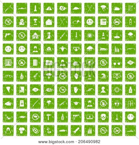 100 tension icons set in grunge style green color isolated on white background vector illustration