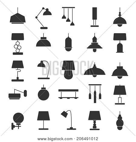 Silhouette of modern interior equipment. Chandeliers, lamps on desk and floor. Black vector illustrations of symbols of lamp light for desk or floor, home and office