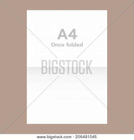 Once folded a4 paper mockup. Realistic illustration of once folded a4 paper vector mockup for web design