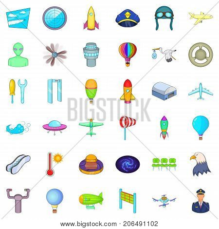 Airplane icons set. Cartoon style of 36 airplane vector icons for web isolated on white background
