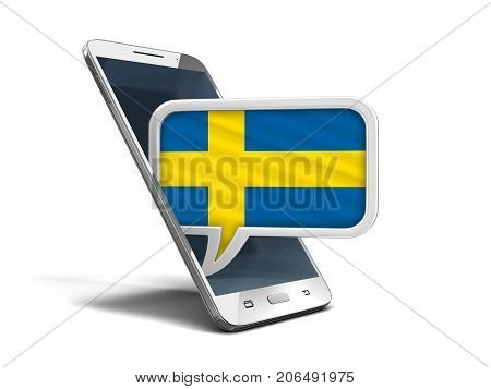 3d Illustration. Touchscreen smartphone and Speech bubble with Swedish flag. Image with clipping path