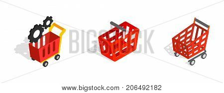 Red shop cart icon set. Isometric set of red shop cart vector icons for web isolated on white background