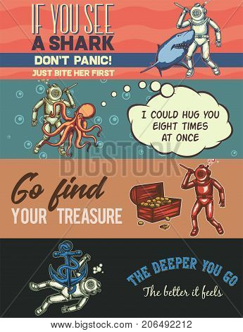 Web banner template with illustrations of diver with shark, octopus, another diver and an anchor.