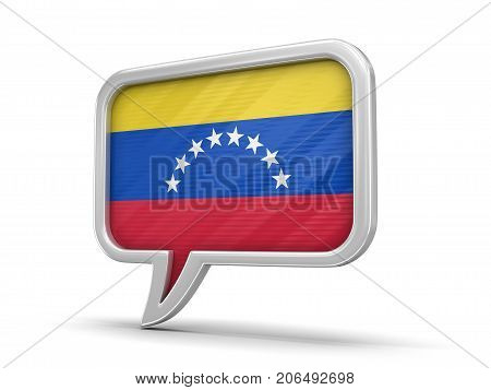 3d Illustration. Speech bubble with Venezuela flag. Image with clipping path