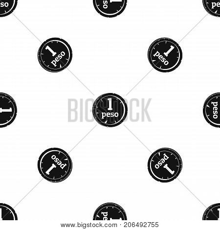 Peso pattern repeat seamless in black color for any design. Vector geometric illustration