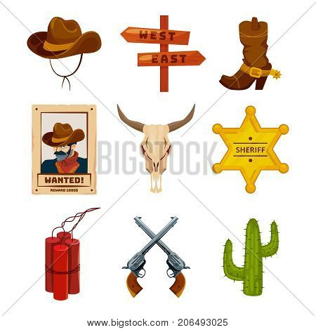 Wild west collection icons. Western illustrations at cartoon style. Boots, guns, cactus and skull. Wild west elements sheriff star badge