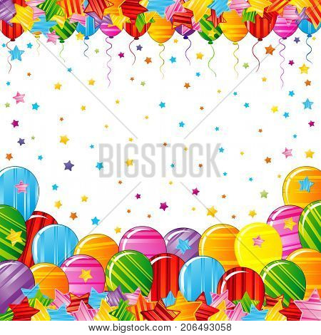 Bright colorful stars and balloons border on a white background. Festive birthday party poster. Celebration illustration.