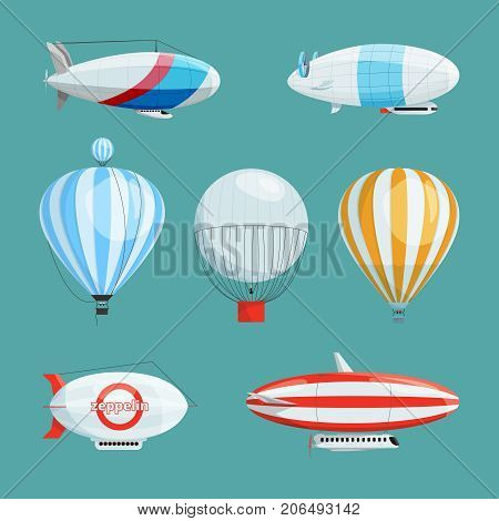 Zeppelins, big airships and balloons with cabin. Vector illustrations set in cartoon style. Airship transportation with basket and cabin