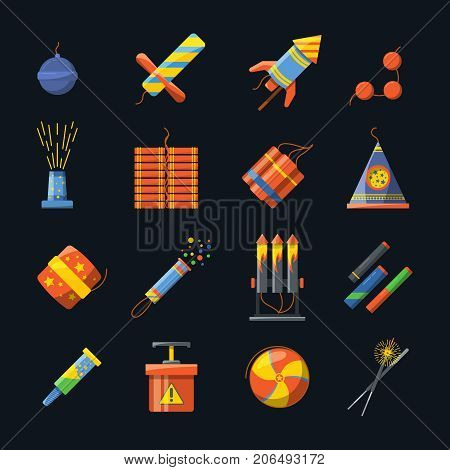 Pyrotechnics for holidays and different tools for fire show. Vector icons set of pyrotechnic firecracker and petard, rocket and bomb dynamite in flat style illustration