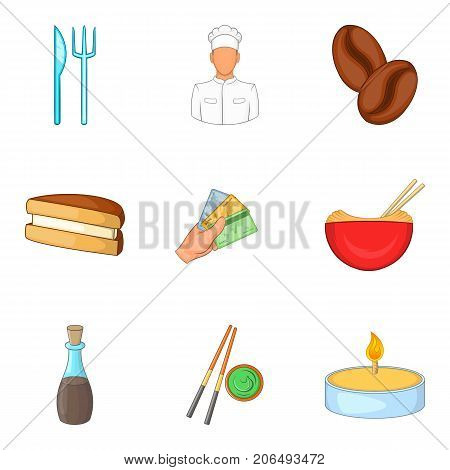 Ordering food icons set. Cartoon set of 9 ordering food vector icons for web isolated on white background