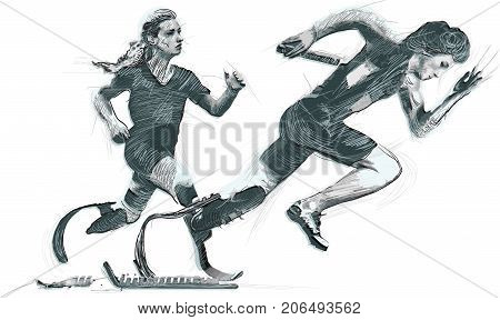 SPRINT RACING RUNNING. From the series SILENT HEROES - Athletes with physical disabilities. A hand drawn vector.