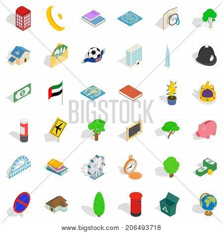 Capital icons set. Isometric style of 36 capital vector icons for web isolated on white background