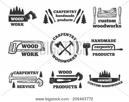 Labels for woodworking shop. Monochrome illustrations with carpentry tools. Vector emblem workshop, logo carpentry handmade