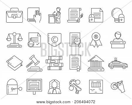 Linear symbols of lawyer, criminals and copyright protection. Jurisprudence legal, tribunal and judgment line style. Vector illustration