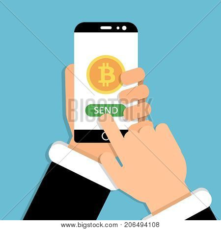 Hand holding smartphone with bitcoin symbol on screen. Vector illustration in flat style. Send bitcoin with smartphone, money cryptocurrency